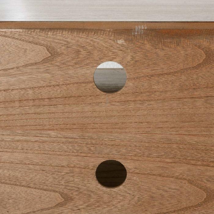 Mueble tv lessime 4 cajones madera de pawlonia detalle balda, cables
