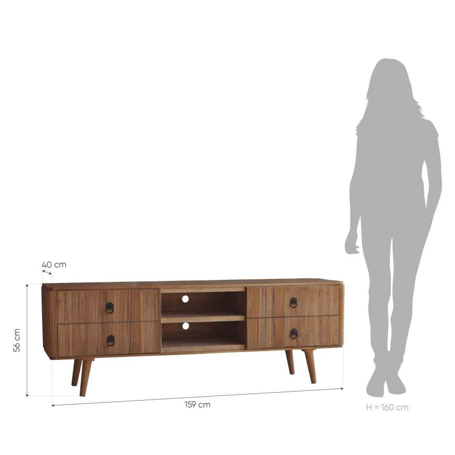 Mueble tv lessime 4 cajones madera de pawlonia medidas