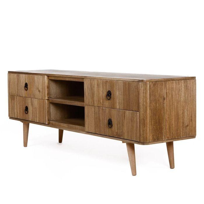 Mueble tv lessime 4 cajones madera de pawlonia perfil