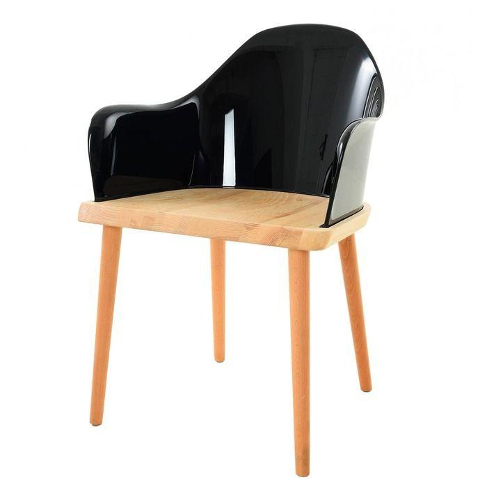 Silla Beksand madera y policarbonato negro 2