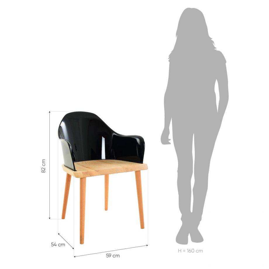 Silla Beksand madera y policarbonato negro medidas