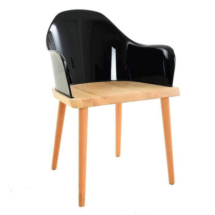 Silla Beksand madera y policarbonato negro parüm