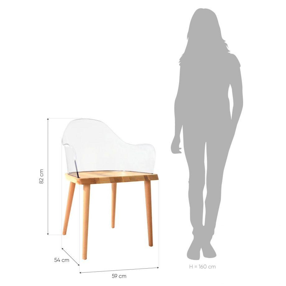 Silla Beksand madera y policarbonato transparente parüm medidas