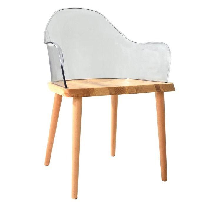 Silla Beksand madera y policarbonato transparente parüm